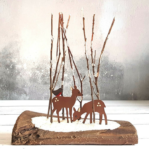 Deer in the woods - metal & wood festive Xmas shelf decoration by Shoeless Joe