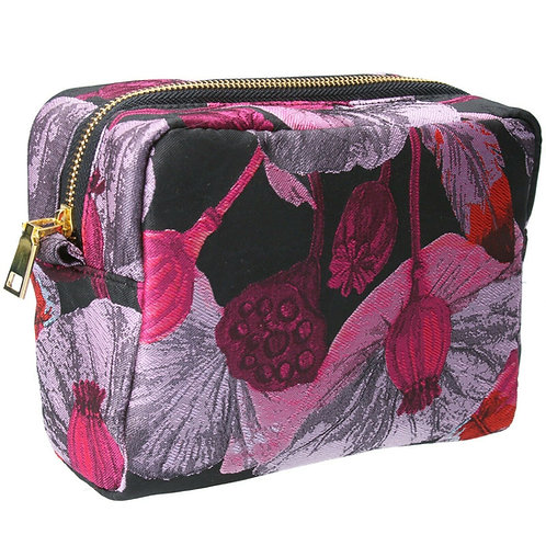 Gisela Graham Jacquard Cerise/Purple Cosmetic Bag Make Up Bag Pouch