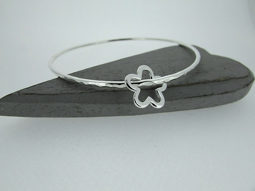 Handmade Hammered Sterling Silver Bangle With Open Flower Charm