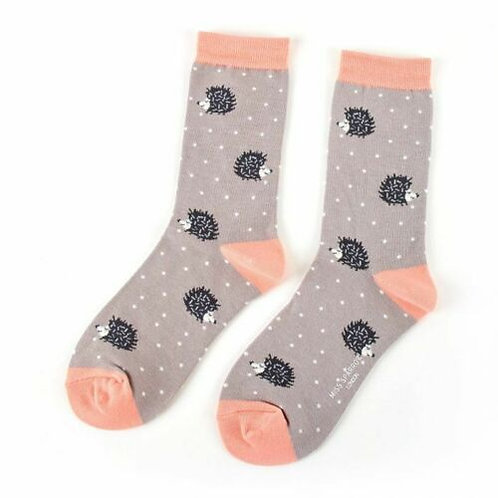 Sleepy Hedgehogs Bamboo Socks Grey Size UK 4-9