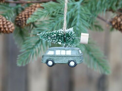 Split Screen VW campervan with Christmas Tree Hanging Decoration