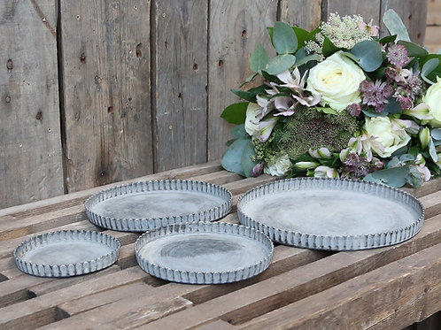 Set of 4 Antique Zinc Fluted Decorative Trays Candle Plates