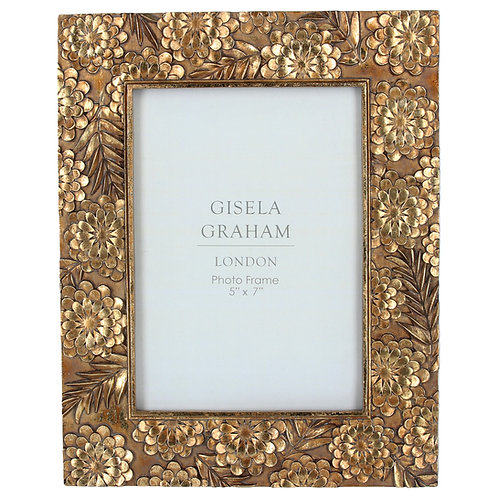 Gold Floral Resin Photo Frame
