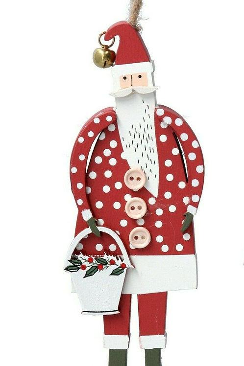 Gisela Graham Wooden Santa with Bucket Hanging Decoration - Spot pattern 13x4x5