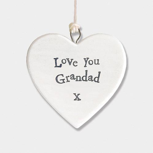 Love You Grandad Small Porcelain Heart