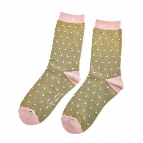 Polka Dots Bamboo Socks Olive One Size UK 4-9