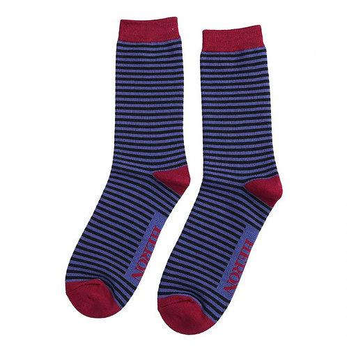 Mini Stripes Socks Blue & Black