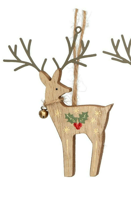 Gisela Graham Wooden Reindeer Decoration with Holly and Bell - Natural colour