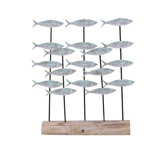 Gisela Graham Driftwood Shoal of Fish Shelf Sitter Nautical Decoration