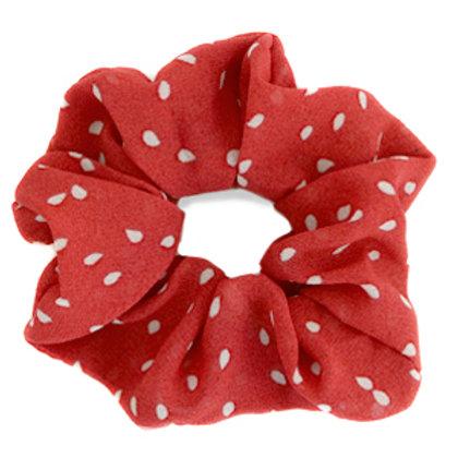 Scrunchie hair tie dots Red