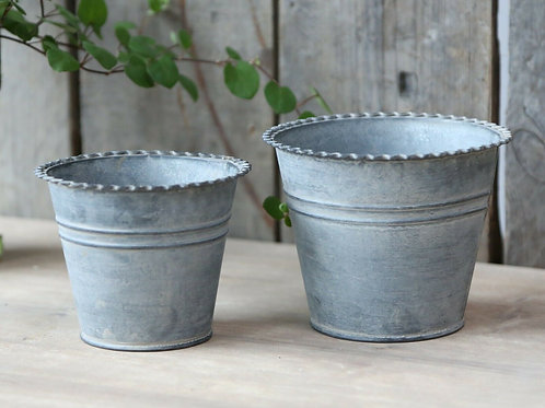 Set of 2 French Antique Zinc Flower pots Shabby Chic