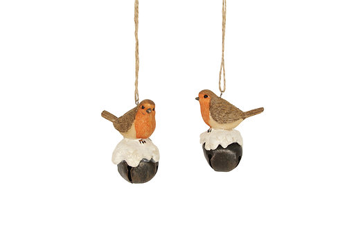 Resin Robbin hanging decoration on bell