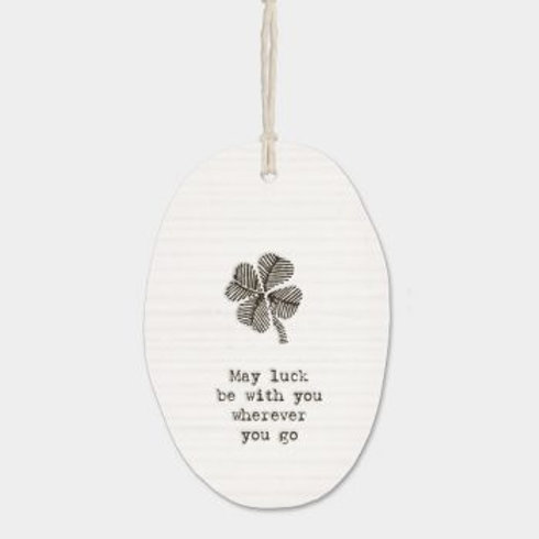 May Luck be With You Oval Porcelain Wall Hanging