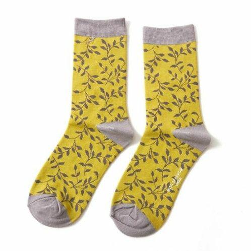 Trailing Leaves Bamboo Socks Lime Size UK 4-9