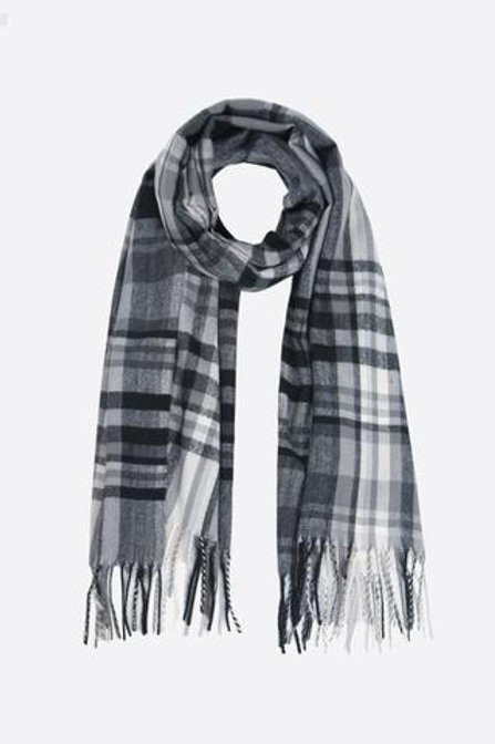 Grey Checked Blacked Scarf With A Tassel.