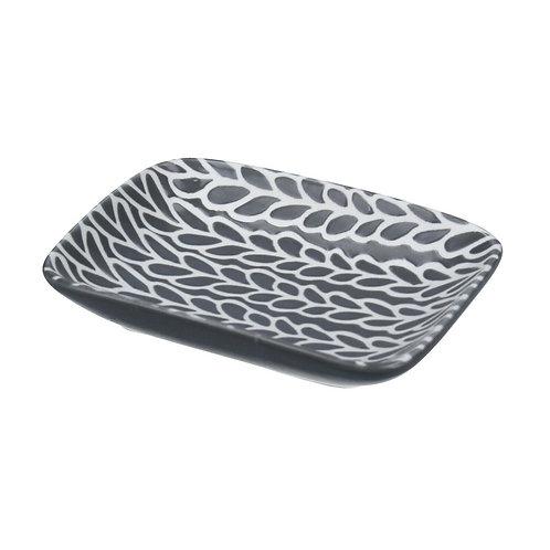Gisela Graham Grey/White Ceramic Leaves Mini Trinket Dish