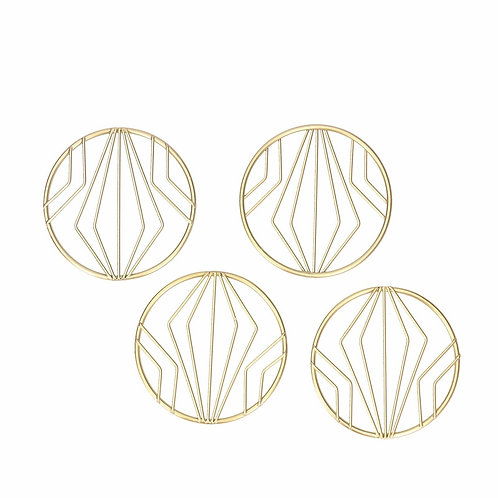 Gisela Graham Gold Metal Geo Round Coasters Set Of 4