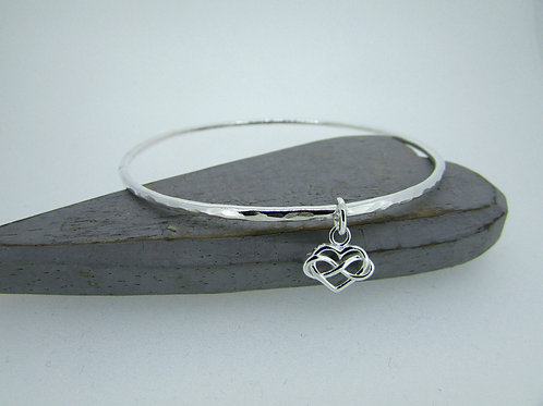 Handmade Hammered Sterling Silver Bangle with Infinity heart Charm