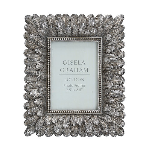 Silver Feather Effect Resin Photo Frame