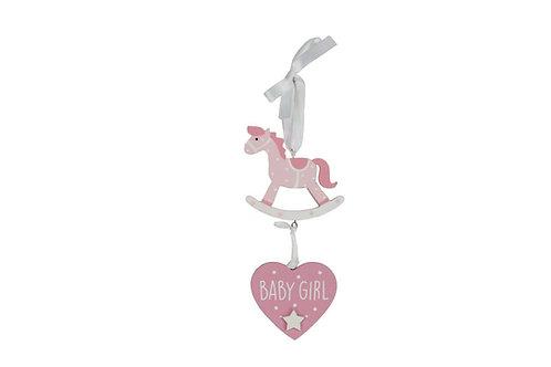Gisela Graham Baby Blue or Pink Hanging Heart Rocking Horse Decoration