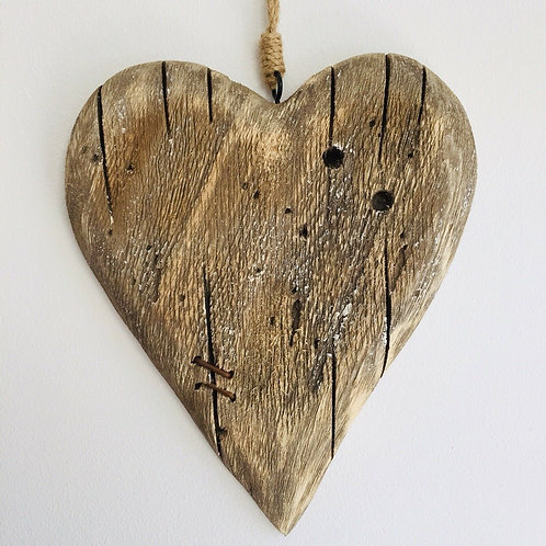 Rustic Brown Distressed Wooden Heart Wall Art By Shoeless Joe 27 X 22cm