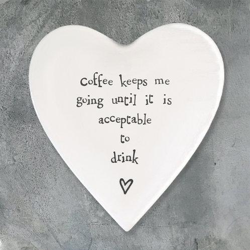 Porcelain coaster-Coffee keeps me going
