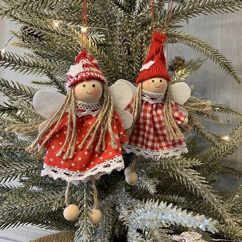 Red White Scandi Fairy Christmas Tree Decoration Gingham Gisela Graham