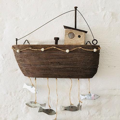 Shoeless Joe Wood Fishermans Boat And Hanging Fish