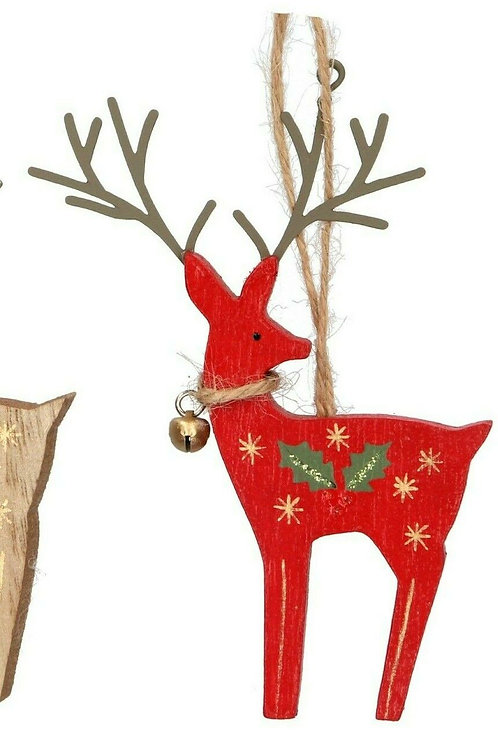 Gisela Graham Wooden Reindeer Decoration with Holly and Bell - Red colour