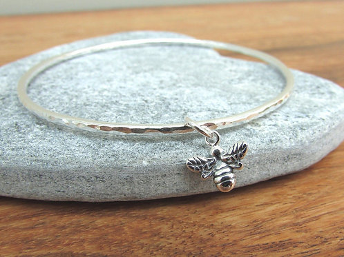 Handmade Hammered Sterling Silver Bangle with Bumble Bee Charm