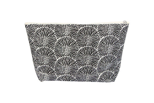 Gisela Graham Black Flower Canvas Zip Wash Bag
