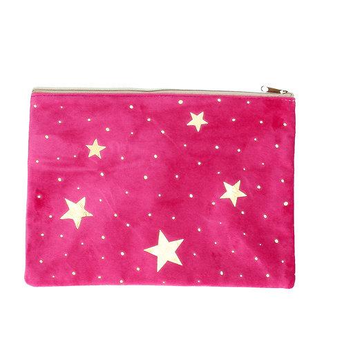 Gisela Graham  Velvet Gold Stars Large Purse / Cosmetic Bag
