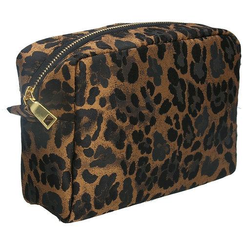 Gisela Graham Jacquard Copper Leopard Print Cosmetic Bag Pouch18cm x 23cm x12cm