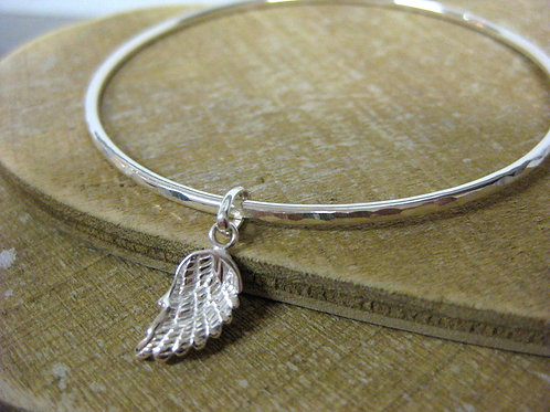 Handmade Hammered Sterling Silver Bangle with Guardian Angel wing Charm