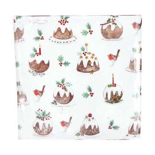 Gisela Graham Plum Pudding Christmas Paper Napkins Pack of 20