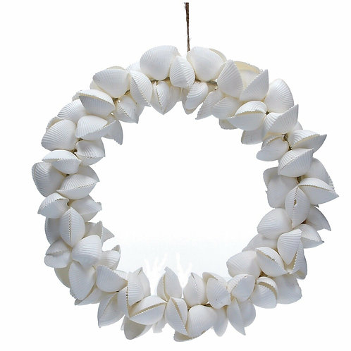 Gisela Graham White Arca Shell Nautical Round Wreath