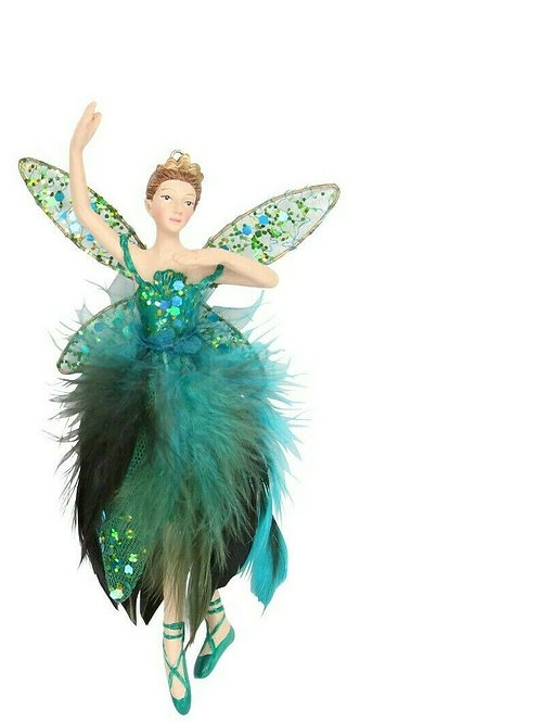 Gisela Graham Resin Peacock Feather Fairy Decoration Large (DANCING POSE)