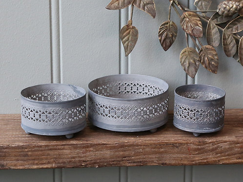 Set of 3 Antique Zinc Metal Ornate Candle Trays