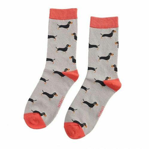 Little Sausage Dogs Dachshund Bamboo Socks Grey Size UK 4-9