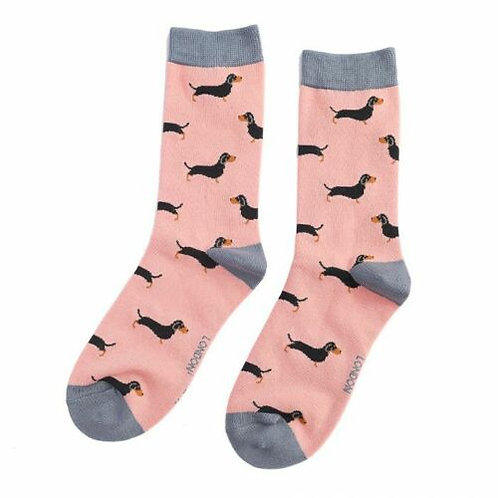 Little Sausage Dogs Dachshund Bamboo Socks Dusky Pink Size UK 4-9