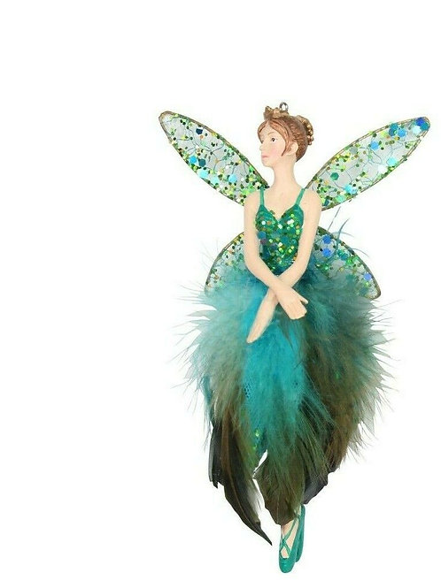 Gisela Graham Resin Peacock Feather Fairy Decoration Large (ARMS CROSSED)