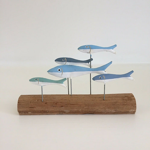 Shoeless Joe Driftwood Shoal of Fish On A Stick Shelf Sitter Nautical Decoration