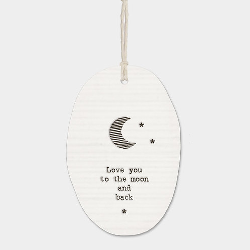 Love You To The Moon Oval Porcelain Wall Hanging