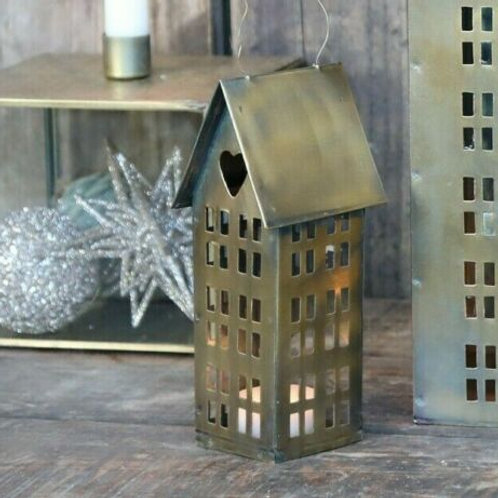 Candle House Lantern in Antique Brass 16cm