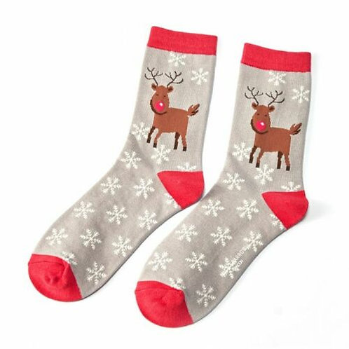 Rudolph Reindeer Bamboo Socks Grey One Size UK 4-9