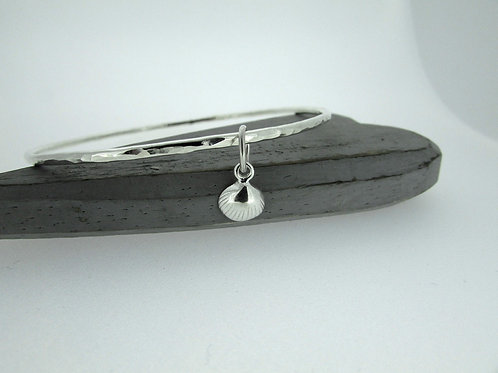 Handmade Hammered Sterling Silver Bangle With Clam Shell Charm