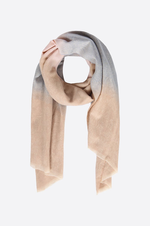 Pink And Camel Ombre Scarf With A Contrast Stripe.