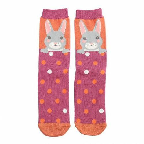 Bunny Bamboo Socks Orange One Size UK 4-9