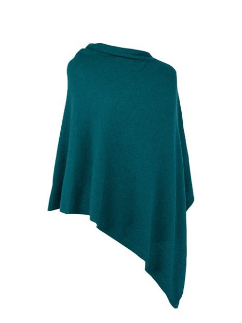 Classic Cashmere Blend Poncho AW20 Peacock Green