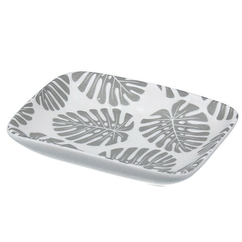 Gisela Graham Grey/White Ceramic Cheese Plant Mini Trinket Dish